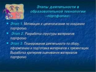 Этапы деятельности в образовательной технологии «портфолио» Этап 1. Мотивация