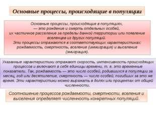 Основные процессы, происходящие в популяции Соотношение процессов рождаемости