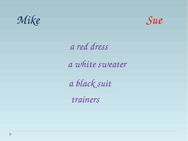Mike Sue trainers a black suit a white sweater a red dress