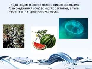 Вода входит в состав любого живого организма. Она содержится во всех частях