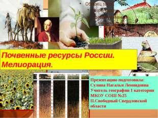Почвенные ресурсы России. Мелиорация. Презентацию подготовила: Сулина Наталья