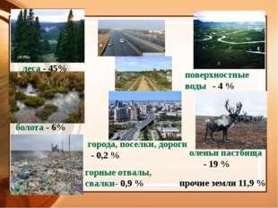 поверхностные воды- 4 % оленьи пастбища- 19 % прочие земли 11,9 % горные