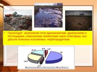 Происходит загрязнение почв ядохимикатами, удобрениями и пестицидами, химичес