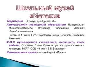 Территория - г.Бузулук, Оренбургская обл. Наименование учреждения образовани