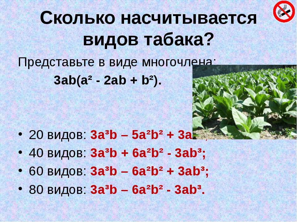 Сколько насчитывается видов табака? Представьте в виде многочлена: 3ab(a² - 2...