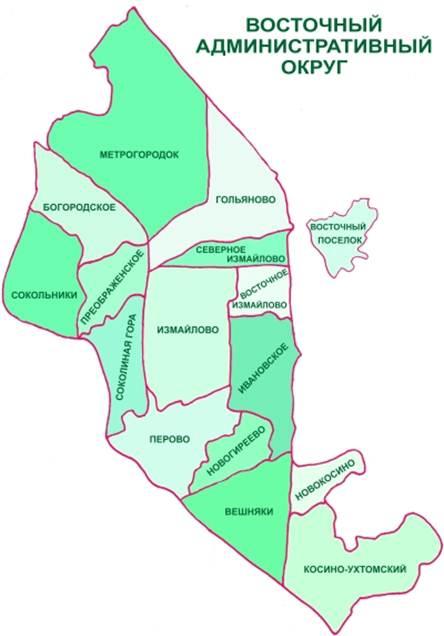 Карта Восточного административного округа Москвы