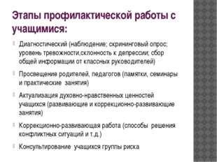 Этапы профилактической работы с учащимися: Диагностический (наблюдение; скрин