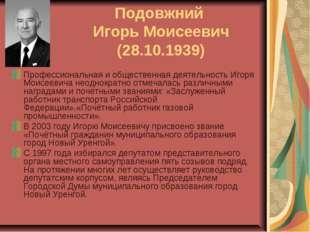 Подовжний Игорь Моисеевич (28.10.1939) Профессиональная и общественная деятел