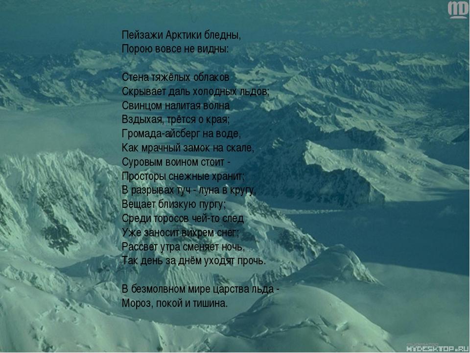 Пейзажи Арктики бледны, Порою вовсе не видны: Стена тяжёлых облаков Скрывает...