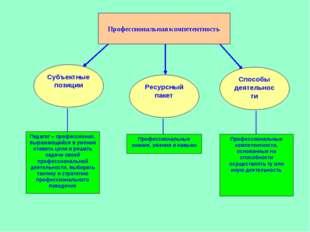 Профессиональная компетентность Субъектные позиции Ресурсный пакет Способы де