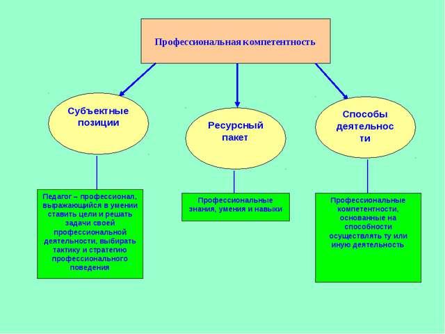 Профессиональная компетентность Субъектные позиции Ресурсный пакет Способы де...