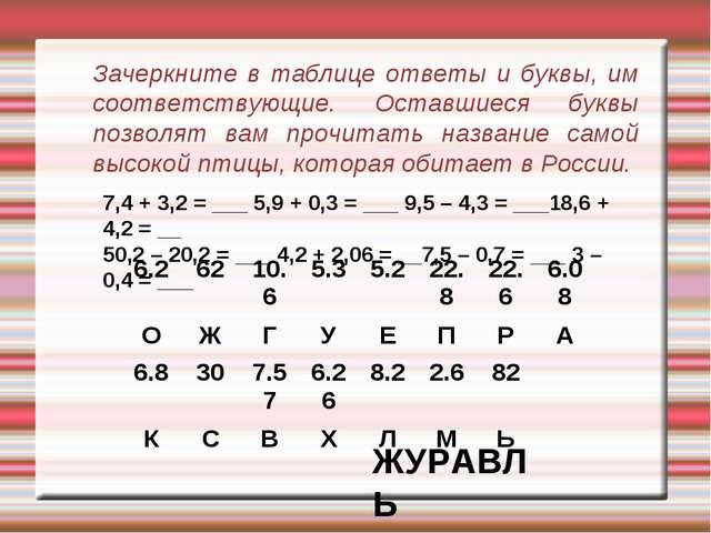 Зачеркните в таблице ответы и буквы, им соответствующие. Оставшиеся буквы поз...