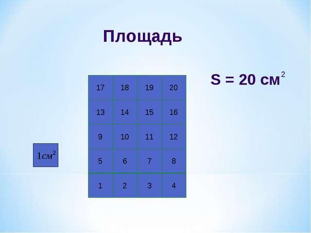 Площадь 1 2 3 4 5 6 7 8 9 10 11 12 13 14 15 16 17 18 19 20 S = 20 см 2