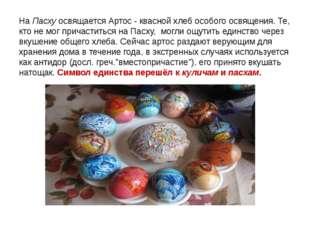 НаПасхуосвящается Артос - квасной хлеб особого освящения. Те, кто не мог пр