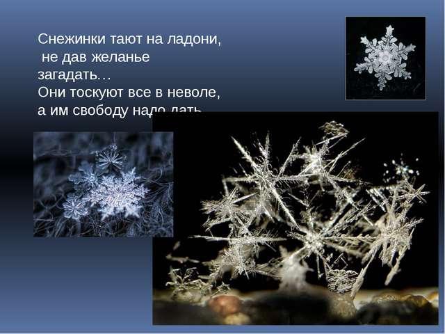 Снежинки тают на ладони, не дав желанье загадать… Они тоскуют все в неволе, а...