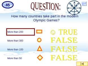 How many countries take part in the modern Olympic Games? More than 200 More