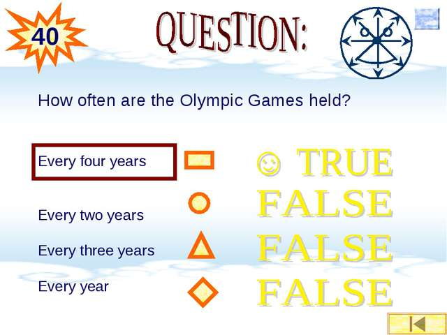 How often are the Olympic Games held? Every four years Every two years Every...