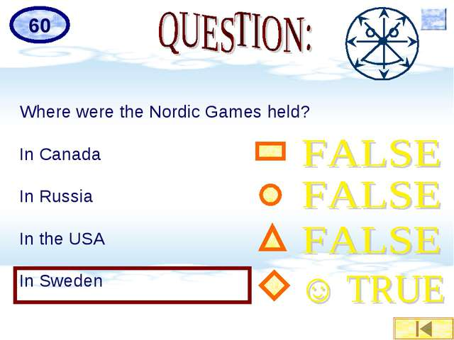 Where were the Nordic Games held? In Canada In Russia In the USA In Sweden 60