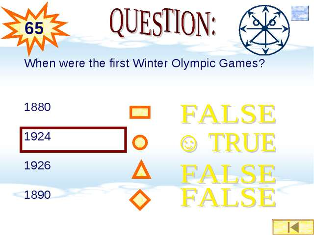 When were the first Winter Olympic Games? 1880 1924 1926 1890 65