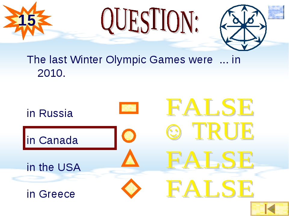 The last Winter Olympic Games were ... in 2010. in Russia in Canada in the US...