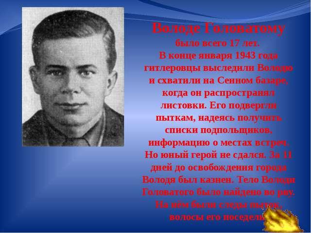 Володе Головатому было всего 17 лет. В конце января 1943 года гитлеровцы высл...