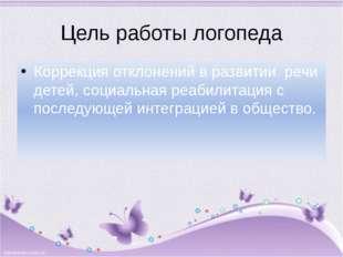 Цель работы логопеда Коррекция отклонений в развитии речи детей, социальная р