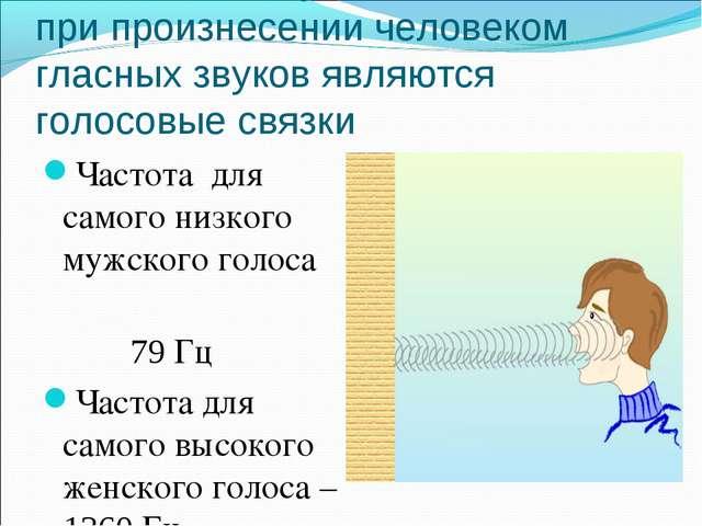 Источником звуковых колебаний при произнесении человеком гласных звуков являю...