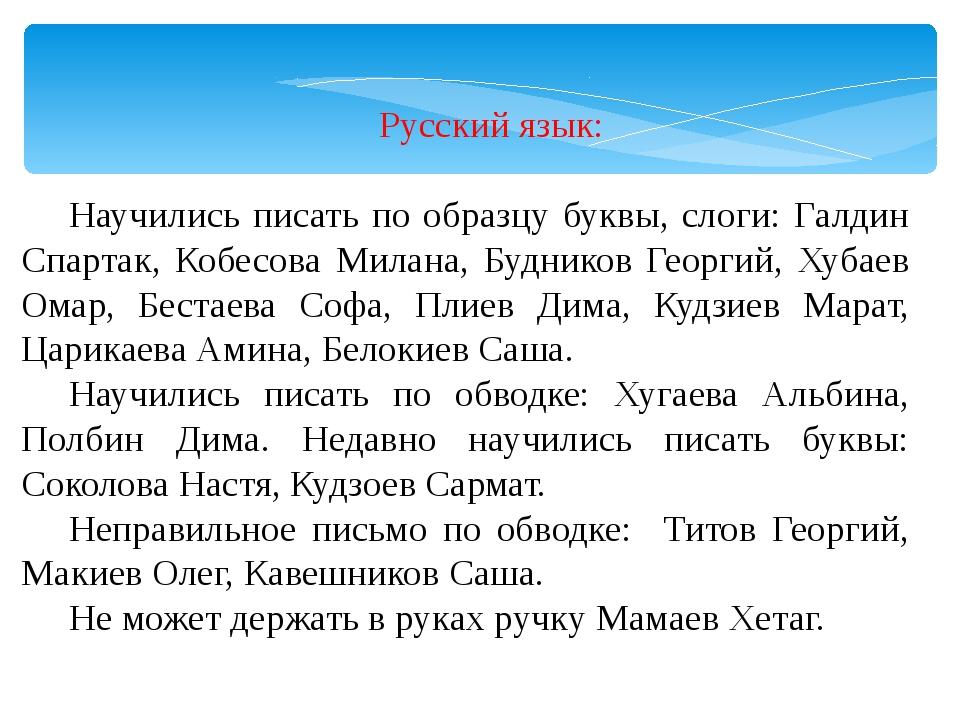Русский язык: Научились писать по образцу буквы, слоги: Галдин Спартак, Кобе...