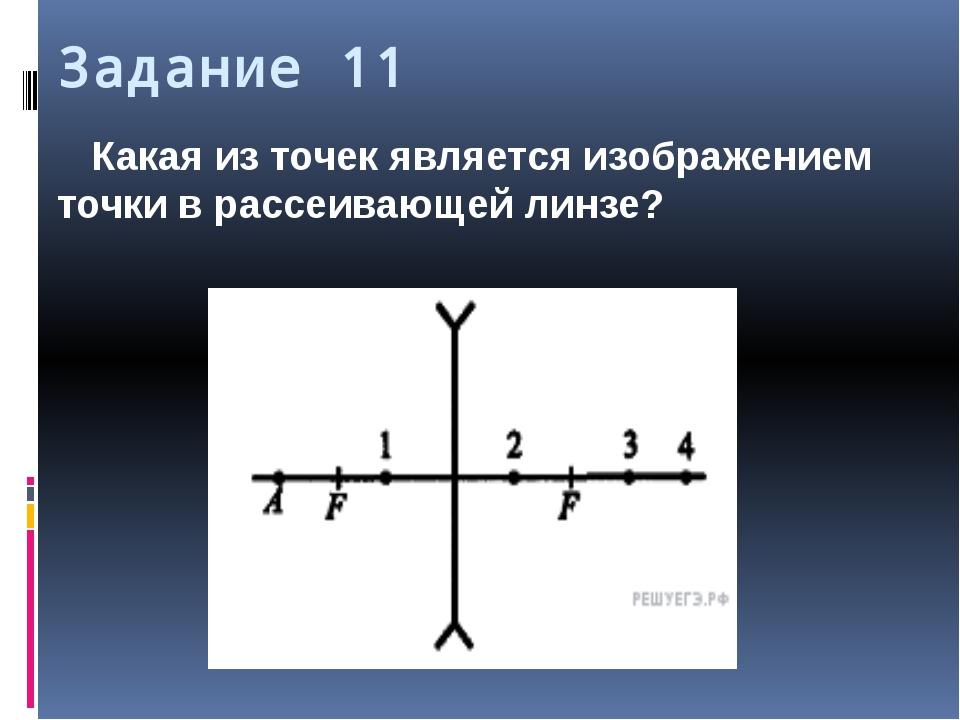 Задание 11 Какая из точек является изображением точки в рассеивающей линзе?