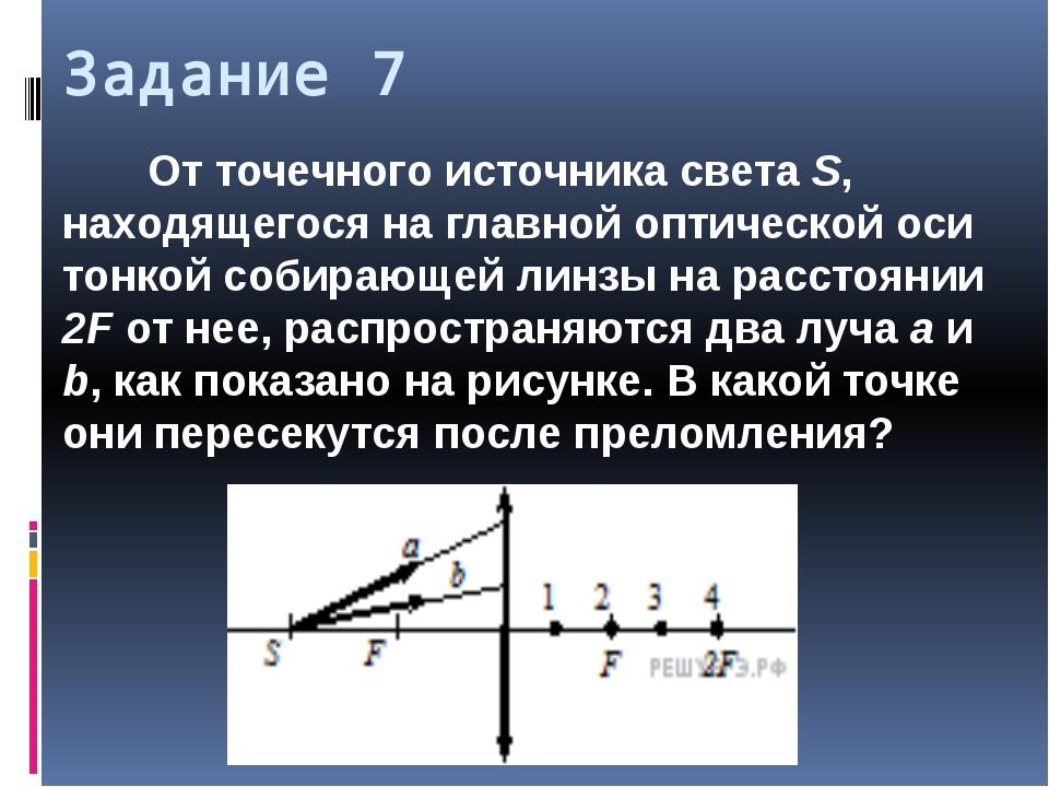 Задание 7 От точечного источника света S, находящегося на главной оптической...