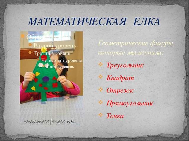 МАТЕМАТИЧЕСКАЯ ЕЛКА Геометрические фигуры, которые мы изучили: Треугольник Кв...