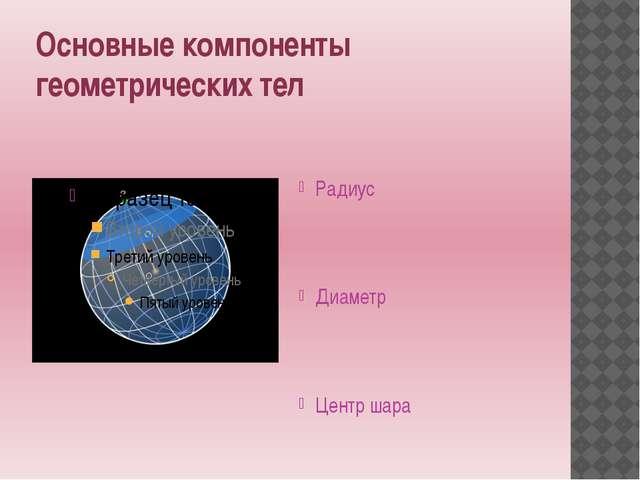 Основные компоненты геометрических тел Радиус Диаметр Центр шара