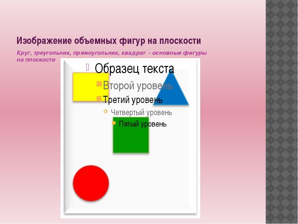 Изображение объемных фигур на плоскости Круг, треугольник, прямоугольник, ква...