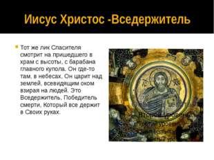 Иисус Христос -Вседержитель Тот же лик Спасителя смотрит на пришедшего в храм