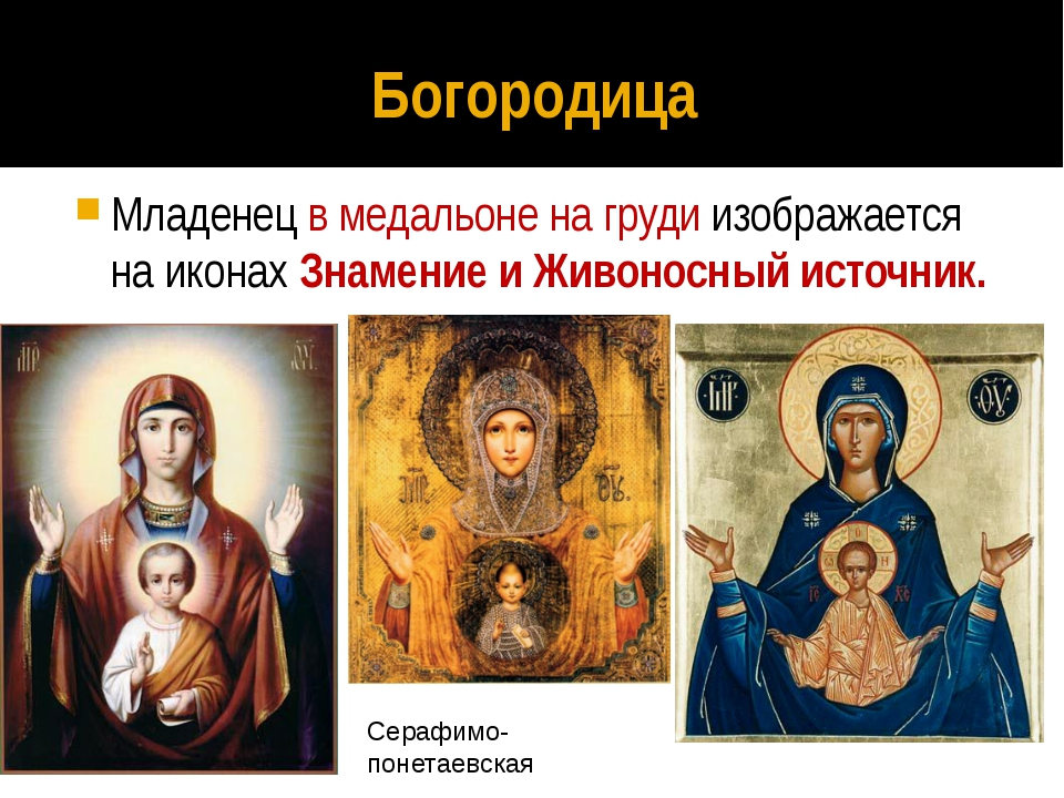 Богородица Младенец в медальоне на груди изображается на иконах Знамение и Жи...