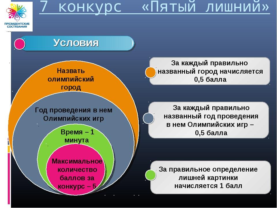 7 конкурс «Пятый лишний» Максимальное количество баллов за конкурс – 5 Время...