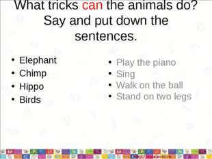What tricks can the animals do? Say and put down the sentences. Elephant Chim