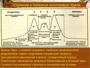 Рис. Строение и полезные ископаемые Урала. Вывод: Урал – сложное складчато- г