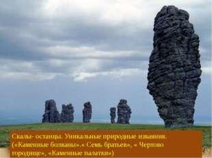 Скалы- останцы. Уникальные природные изваяния. («Каменные болваны».« Семь бра