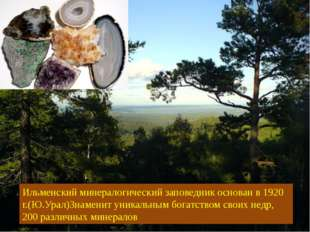 Ильменский минералогический заповедник основан в 1920 г.(Ю.Урал)Знаменит уник