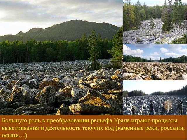 Большую роль в преобразовании рельефа Урала играют процессы выветривания и де...