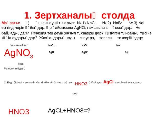 1. Зертханалық столда Мақсаты: 1) Үш сынауықты алып: № 1) NaCL № 2) NaBr № 3...