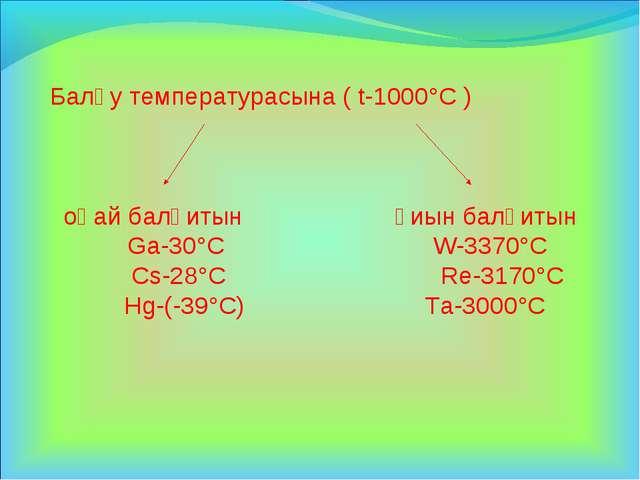Балқу температурасына ( t-1000°C ) оңай балқитын қиын балқитын Ga-30°C W-3370...