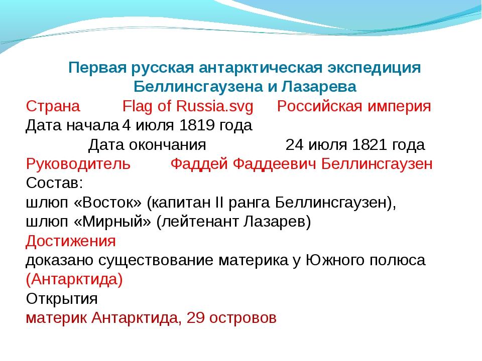 Первая русская антарктическая экспедиция Беллинсгаузена и Лазарева СтранаFla...