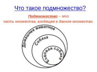Что такое подмножество? Подмножество – это часть множества, входящее в данное