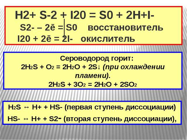 H2+ S-2 + I20 = S0 + 2H+I- S2- – 2ē = S0 восстановитель I20 + 2ē = 2I- окисл...
