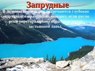 Запрудные В долинах горных рек встречаются глубокие запрудные озёра. Они возн