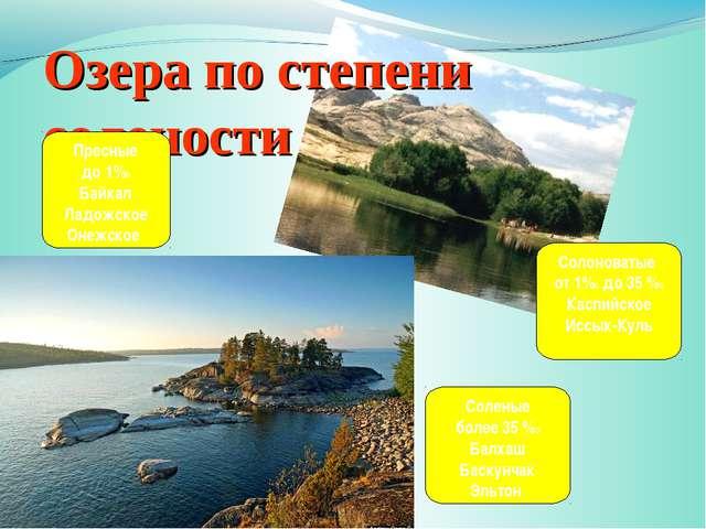 Озера по степени солености Пресные до 1%0 Байкал Ладожское Онежское Солоноват...
