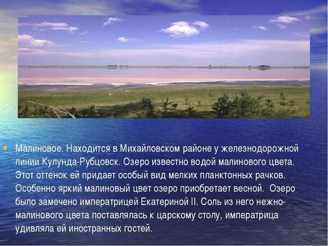 Малиновое. Находится в Михайловском районе у железнодорожной линии Кулунда-Р...