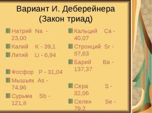 Вариант И. Деберейнера (Закон триад) Натрий Na - 23,00 Калий K - 39,1 Литий L